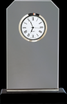 Clipped Corners Clear Glass Clock with Black Base Achievement Awards