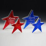 Ruby and Sapphire Star Art Glass