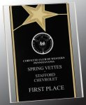 Black/Gold Standing Star Acrylic Recognition Plaque Corporate Awards