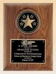 American Walnut Plaque with 5 Star Medallion Corporate Awards
