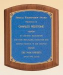 American Walnut Plaque with Linen Textured Plate Corporate Awards