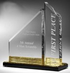 Multi-Faceted Dual Acrylic Column with Base Accent Color Corporate Awards