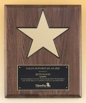 Walnut Stained Piano Finish Plaque with 8 Gold Star Corporate Awards