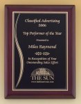 Rosewood Piano Finish Plaque with Brass Plate Corporate Awards