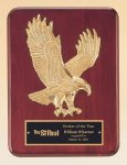 Rosewood Piano Finish Plaque with Gold Eagle Casting Eagle