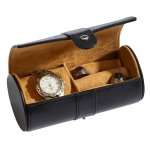 Black Leather Round Jewelry Case  Misc. Gift Awards