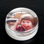 Round Paper Weight with Insert Photo Gift Items | Frames