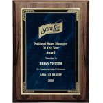 Walnut Finish Plaque with Marble Mist Square   Rectangle