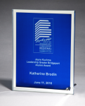 Glass Plaque with Blue Center and Mirror Border Square | Rectangle