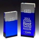 Together Blue Block Tower Crystal Award Square | Rectangle